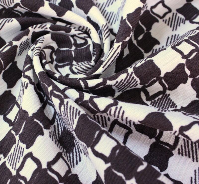 Памук еластичен щампа - кафяво с бяло