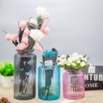 Стъклена ваза Буркан, Розова