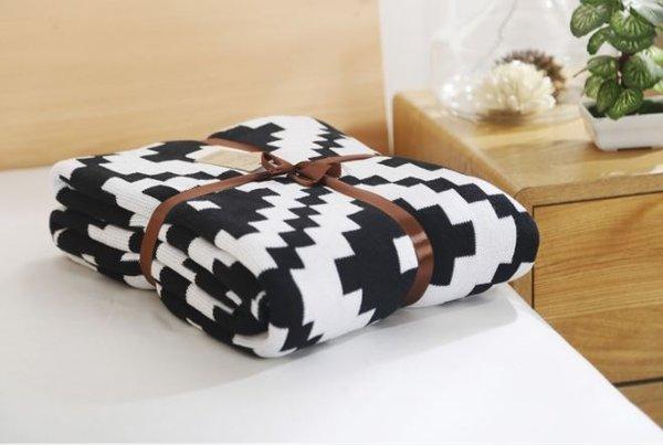 Памучно одеяло Черен ромб