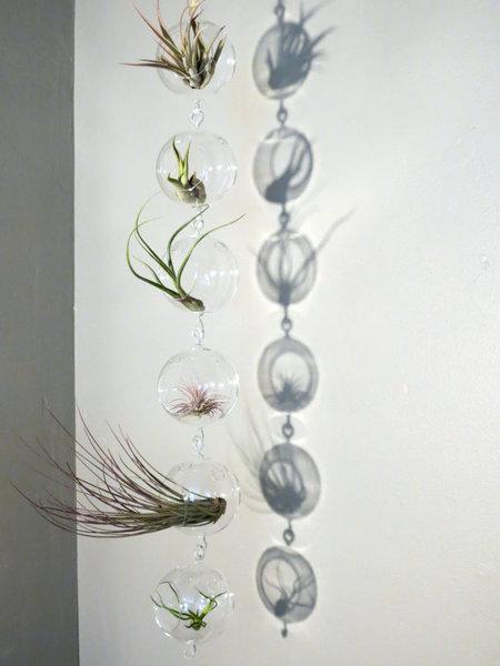Висяща стъклена сфера ваза Ball Double Hook, 10см