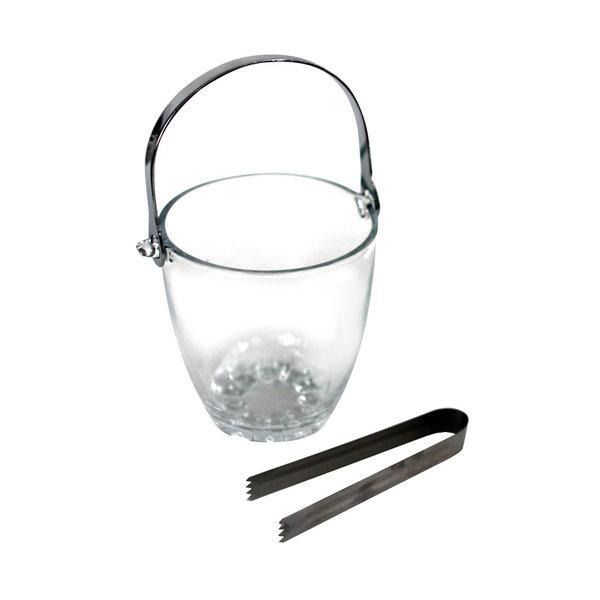 Стъклена кофичка за лед с щипка, ледурка