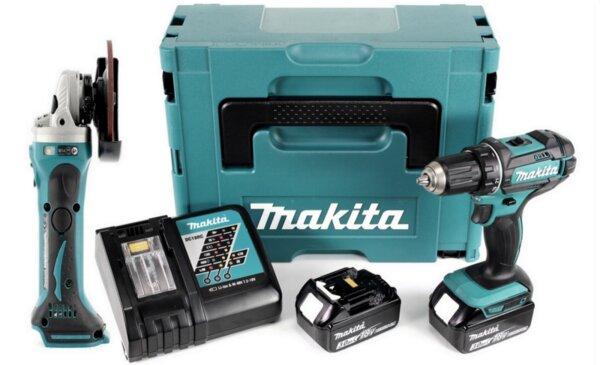 Комплект MAKITA- Винтоверт DDF482RFE с 2 батерии и зарядно + ъглошлайф DGA452