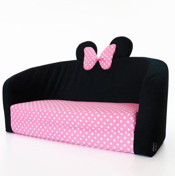 Детски разтегателен диван в розово и черно