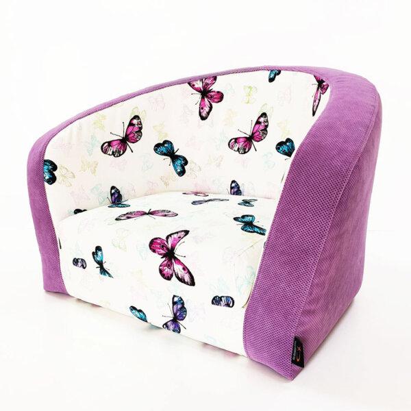 Детски разтегателен фотьойл с пеперуди SMARTY, Лилав