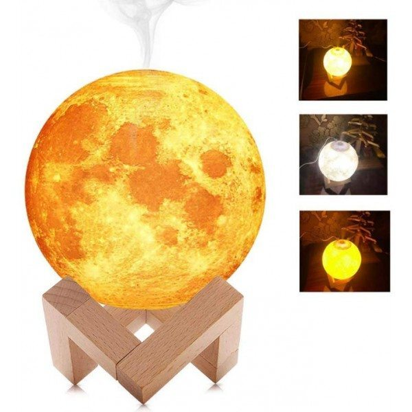 Овлажнител за въздух и светеща нощна лампа ЛУНА 3D 2в1