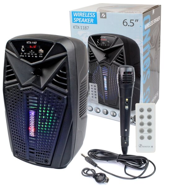 """Активна Bluetooth караоке тонколона 6.5"""" с микрофон KTX 1187 с LED ДИСКО СВЕТЛИНИ"""