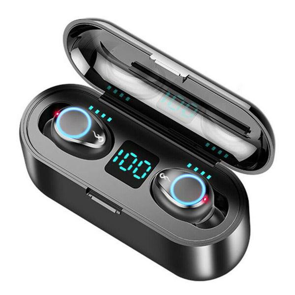 F9 TWS Спортни безжични слушалки със сензорно управление /черни/