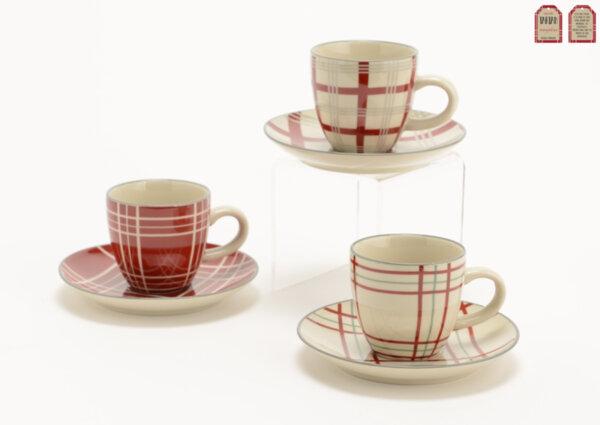 Комплект от 6 броя чаши за кафе TARTAN