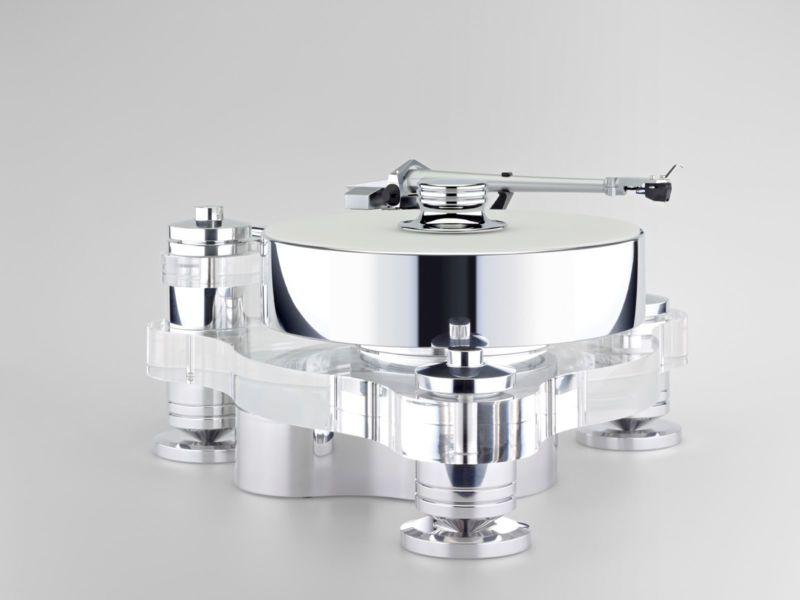 Грамофон Transrotor Rondino Bianco FMD - алуминии и прозрачен акрил, оборудван с рамо TR 5009 и доза TR Merlo