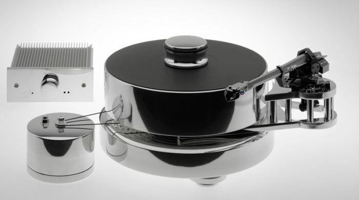 Грамофон Transrotor Fat Bob Reference 80 TMD - алуминии, оборудван с рамо TR 5009 и доза TR Merlo, захранване Konstant M1