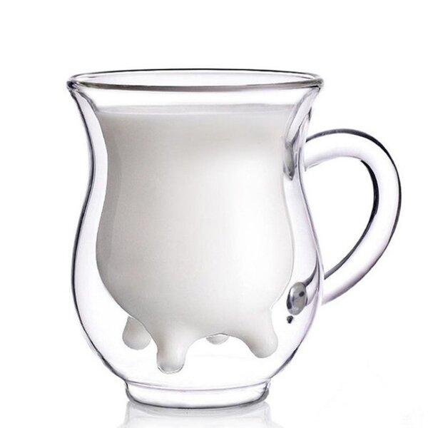 Стъклена чаша за мляко с формата на виме