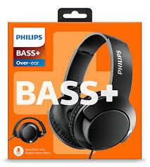 Philips слушалки с микрофон BASS+, цвят: черен