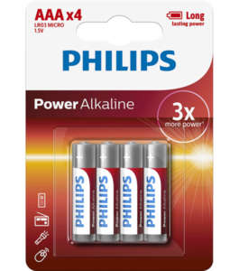 Philips Power Alkaline батерия LR03 AAA, 4-blister