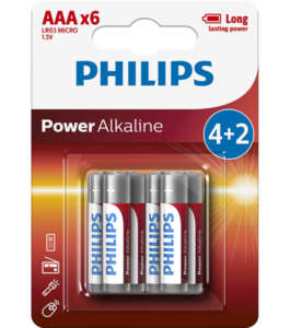 Philips Power Alkaline батерия LR03 AAA, 4+2-blister PROMO