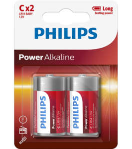 Philips Power Alkaline батерия LR14 (C), 2-blister