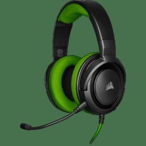 Геймърски слушалки Corsair HS35 Gaming Headset (50mm неодимови говорители, контрол на звука, микрофон) Green