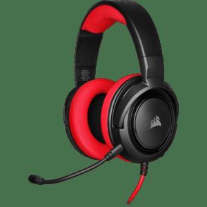 Геймърски слушалки Corsair HS35 Gaming Headset (50mm неодимови говорители, контрол на звука, микрофон) Red