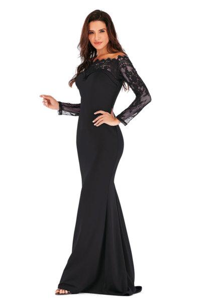 Дълга официална рокля с дантела