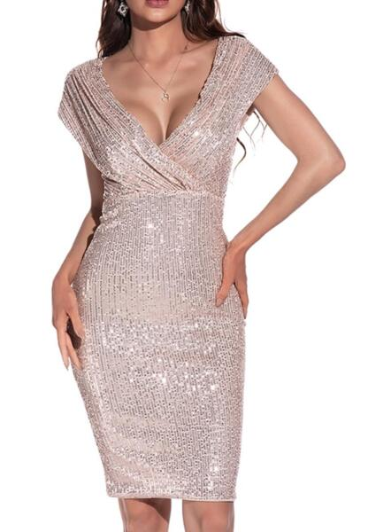 Ефектна рокля с пайети в розово злато
