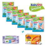 Комплект Пелени-гащички Babylino Sensitive 6 пакета, 250 грама пшеничен сухар Sole Mio и пакет Бебешки мокри кърпички Baby Care Fresh Pure Water 96 % - 63 броя