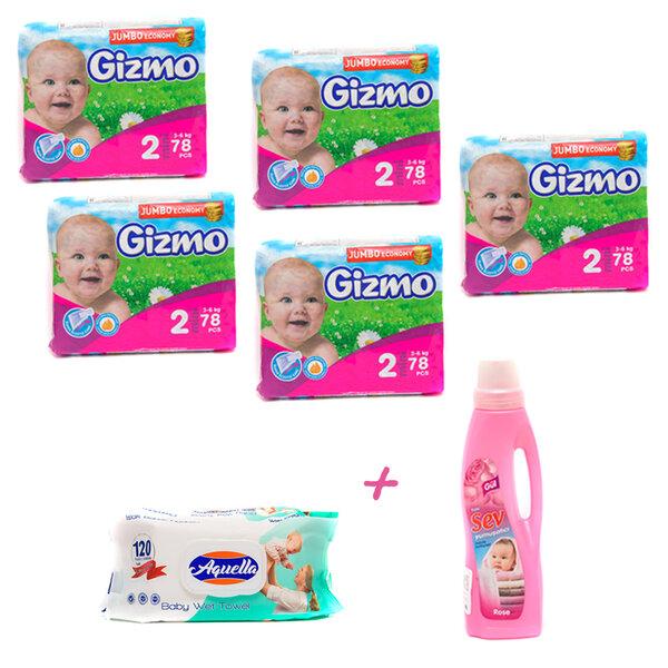 Комплект Бебешки пелени Gizmo 5 пакета, Подарък - 1 литър Омекотител SEV роза и Бебешки мокри кърпички с крем Aquella 120 броя
