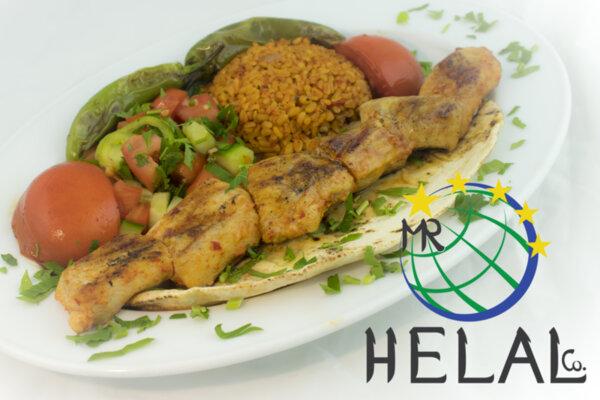 Пилешки шиш кебап с булгур, салата, арабска питка