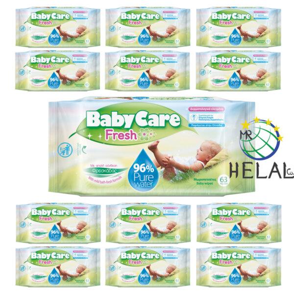 Бебешки мокри кърпички BabyCare, Pure Water 96%, 12x63 бр.