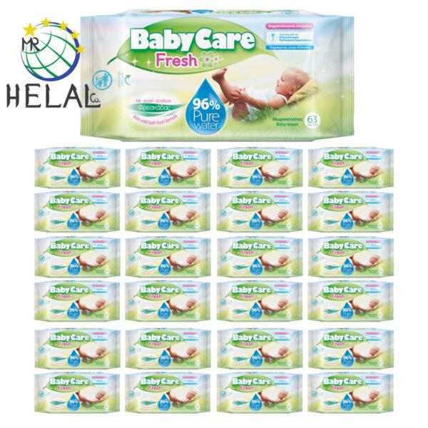 Бебешки мокри кърпички BabyCare, Pure Water 96%, 24 пакета