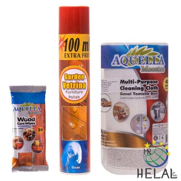 Промо пакет полиращ спрей + мокри кърпи за мебели и дърво и многофункционални хартиени кърпи за почистване