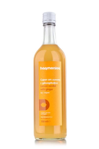 Био Сироп от лимони с джинджифил Harmonica 750 ml