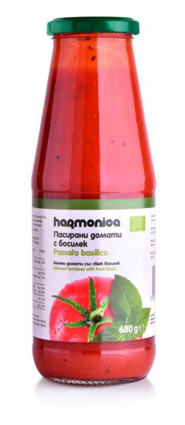 Био Пасирани домати с босилек Harmonica 680 g