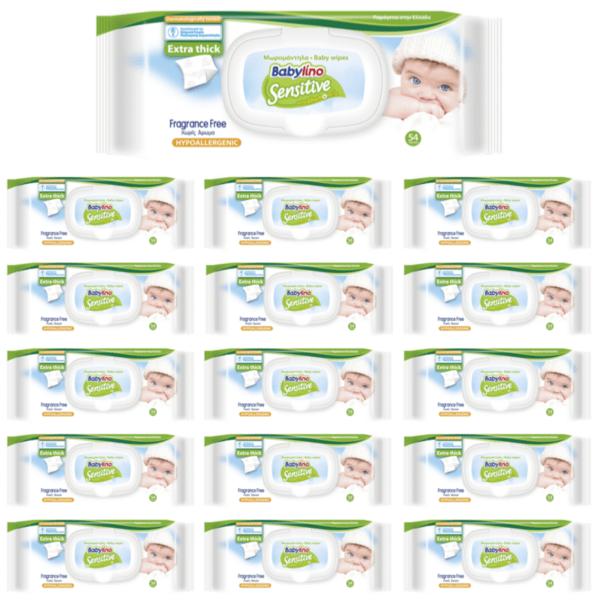 Бебешки мокри кърпички BabyCare Sensitive с лайка 15 пакета х 54 бр.
