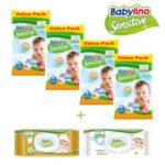 Комплект Пелени-гащички Babylino Sensitive  with Chamomile Value pack 4 пакета, Подарък два пакета Бебешки мокри кърпички Sensitive с лайка