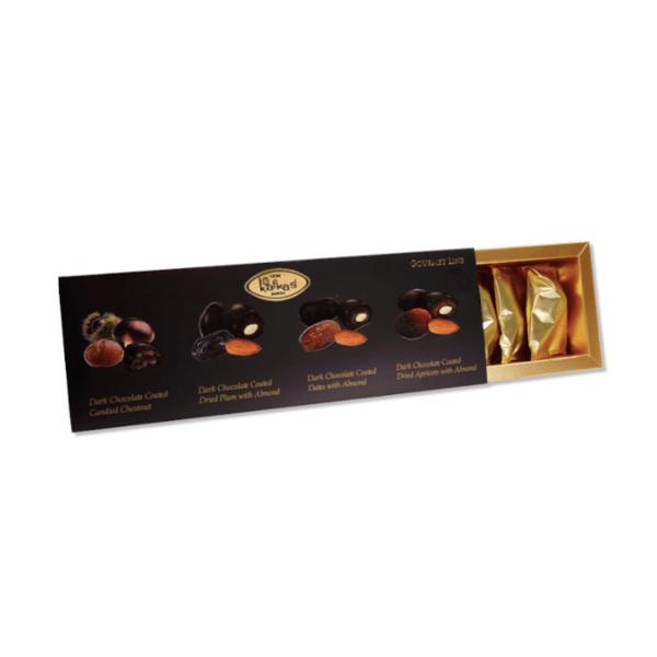 Луксозен гурме микс шоколадови бонбони от черен шоколад, кестен, кайсия, слива, фурма и  бадем.
