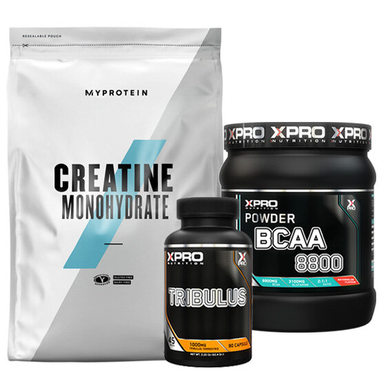 СТАК – XPRO BCAA 8800 – 429 G + XPRO TRIBULUS – 90 КАПСУЛИ + MYPROTEIN – CREATINE MONOHYDRATE – 250 G