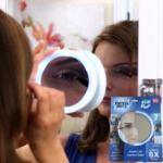 Увеличително въртящо огледало за гримиране с LED осветление