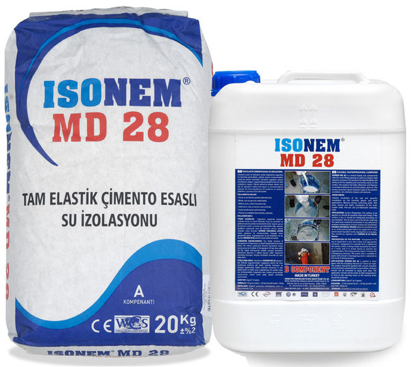 MD28 - Двукомпонентна хидроизолация на циментова и акрилна основа с висока еластичност 30кг