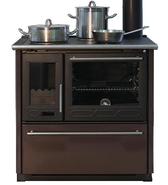 Готварска печка на дърва Plamen, Модел Termo Glass, Мощност 15kW, Водна риза, Фурна, Котлон