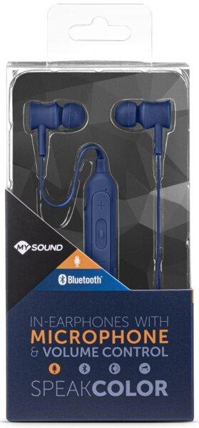 сини слушалки MYSOUND Bluetooth in-earphones with microphone and volume control speak color blue