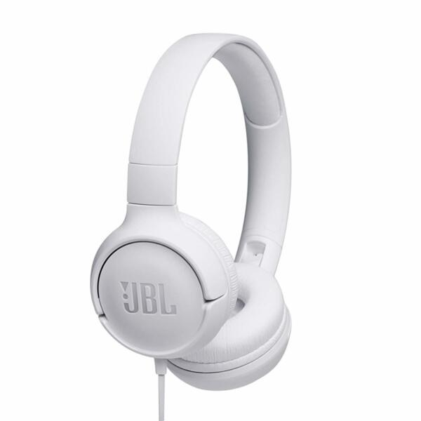 Бели Слушалки JBL TUNE500 Wired On-Ear Headphones with One-Button Remote and Mic white