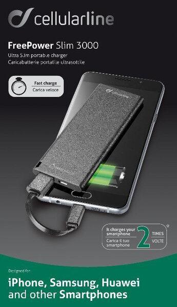 Външна Батерия CELLULAR POWERBANK 3000MAH ULTRA SLIM BK