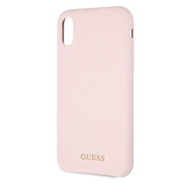 Kалъф от Guess Sillicone Gold Logo за Iphone XR - Light Pink