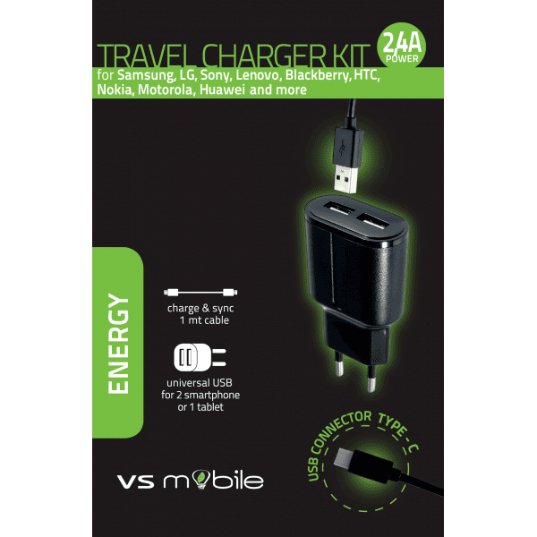 Зарядно VS MOBILE WALL CHARGER 220V 2.4A WITH CABLE Micro USB