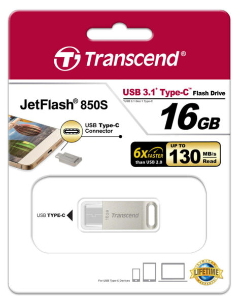 Transcend 16GB JetFlash 850 USB 3.1 Type-C Flash