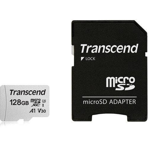 Transcend 128GB microSDXC UHS-I Class 10 U3 V30 A1 Memory Card with Adapter