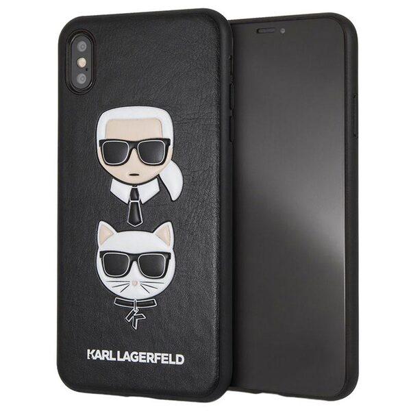 KLHCI65KICKCЧерен кейс Karl Lagerfeld Karl and Choupette Hard Case Black за iPhone XS Max