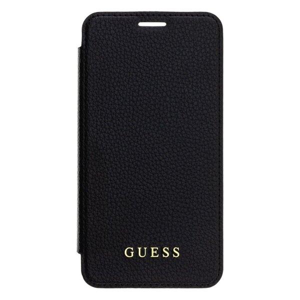 Черен Кожен калъф Guess Bundle Leather Book Case Iridescent Black + Tempered Glass pro за iPhone XR