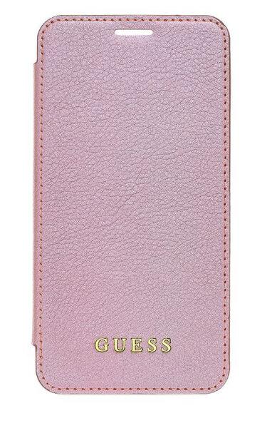 Кожен Калъф розово злато Guess Bundle Leather Book Case Iridescent Rose Gold + Tempered Glass за pro iPhone XR