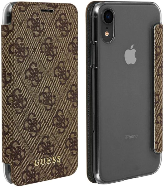 Кафяв Калъф Guess Charms Book Case 4G Brown pro за iPhone XR