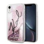 Karl Lagerfeld iPhone XR KLHCI61TRKSIGPI pink hardcase Signature Liquid Glitter Stars